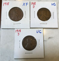 1918PD&S  LINCOLN CENTS 3 COINS