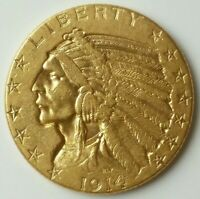 1914 D $5 INCUSE INDIAN GOLD HALF EAGLE