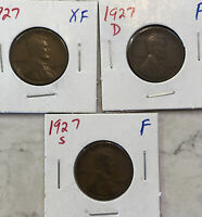 1927P, D, & S LINCOLN CENTS.  3 COINS