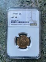 1892 CARSON CITY $5 GOLD LIBERTY NGC AU58