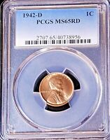 1942-D LINCOLN WHEAT CENT PCGS MINT STATE 65RD BRIGHT RED SUPERB LUSTER, PQ GC169