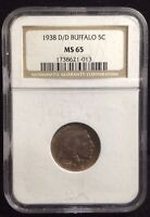 1938 D/D BUFFALO NICKEL 5 MINT STATE 65 NGC CASE IS SCRATCHED UP