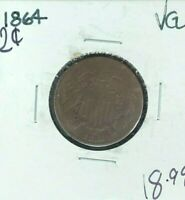 1864 TWO CENT PIECE  VG COIN