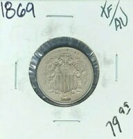 1869 SHIELD NICKEL EXTRA FINE /AU  COIN