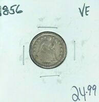 1856 SEATED LIBERTY SILVER DIME VF  COIN