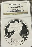 2012-W AMERICAN SILVER EAGLE - NGC PF70 ULTRA CAMEO PROOF NO SPOTS