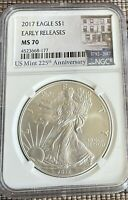 2017 AMERICAN SILVER EAGLE NGC MS70 EARLY RELEASES 225TH ANNIVERSARY LABEL