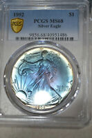 BEAUTIFUL ICY BLUE $1 1992 PCGS MINT STATE 68 TONED SILVER EAGLE .999 ASE 1 OZ GORGEOUS