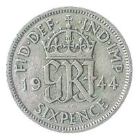 BRITISH 6 PENCE SILVER COIN   KING GEORGE VI 1937 1946. GREAT BRITAIN: KM 852