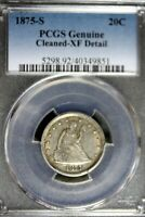 1875   S PCGS GENUINE  CLEANED   XF DETAILS SEATED LIBERTY 2