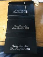 LOT OF 3 U S SILVER PROOF SETS 1992 1993 1994 BOXES AND C OF