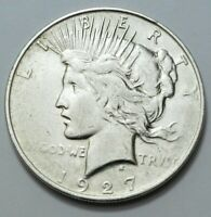 1927 D PEACE DOLLAR  US OLD SILVER $1.00 COIN KEY DATE UNGRA