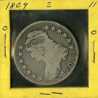 US COIN 1809 CAPPED BUST SILVER HALF DOLLAR