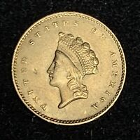 XF  1854 INDIAN HEAD TYPE 2 GOLD DOLLAR W/ SMALL OBVERSE DIG