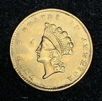 XF/AU 1855 INDIAN HEAD TYPE 2 GOLD DOLLAR W OBVERSE DIGS OLD