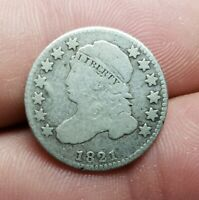 1821 CAPPED BUST DIME - FINE F - POSSIBLY CLEANED