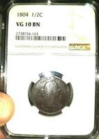 1804 DRAPED BUST HALF CENT 1/2 CENT VG10 NGC CERTIFIED