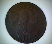 1794 LIBERTY CAP LARGE CENT S-54  ANACS VF30 DETAILS-