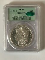 1879-S PCGS MINT STATE 63 DMPL MORGAN SILVER DOLLAR IN OLD GREEN HOLDER WITH CAC STICKER