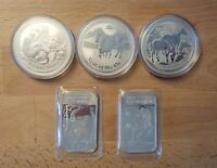 5 OZ SILVER LUNAR COIN AND BAR LOT AUSTRALIA 2009 OX 2014 HO