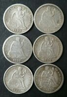 LOT OF SIX 10C SEATED LIBERTY SILVER DIMES