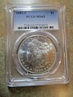 1882-S MORGAN SILVER DOLLAR, PCGS MINT STATE 63 CERTIFIED