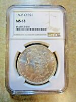 1898-O MORGAN SILVER DOLLAR, NGC MINT STATE 63 CERTIFIED