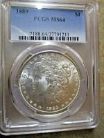 1889 MORGAN SILVER DOLLAR, PCGS MINT STATE 64 CERTIFIED
