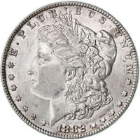 1882 MORGAN SILVER DOLLAR AU SLIDER