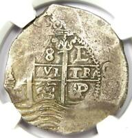 1663 P E BOLIVIA PHILIP IV 8 REALES COIN  8R    CERTIFIED NGC VF30    COIN