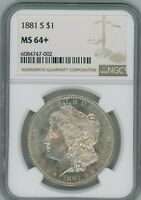 1880 S NGC MINT STATE 64 MORGAN SILVER DOLLAR $1 1880-S MINT STATE 64  PLUS SUPER PQ COIN