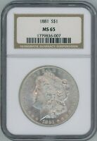 1881 P NGC MINT STATE 65 MORGAN DOLLAR $1 SILVER BETTER DATE 1881-P NGC MINT STATE 65 SUPER PQ
