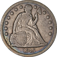 1843 SEATED LIBERTY DOLLAR CHOICE VG  SUPERB EYE APPEAL STRO