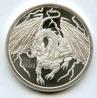 NORSE WORLD OF DRAGONS 999 SILVER 1 OZ FINE ART MEDAL ROUND MEDALLION - MA987