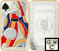 2008 QUEEN OF SPADES -PLAYING CARD COLORIZED PRF $15 STERLING SILVER COIN12391