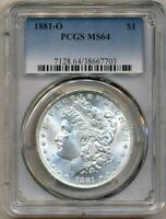1881-O MORGAN PCGS MINT STATE 64  SHINY WHITE SILVER DOLLAR COIN BU NEW ORLEANS MINT