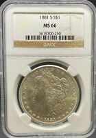 1881-S MORGAN DOLLAR MINT STATE 66 NGC PA3615700250