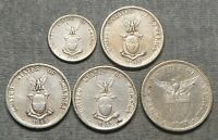LOT OF 5 PHILIPPINES SILVER COINS   20 CENTAVOS &  4  50 CEN