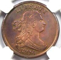 1804 DRAPED BUST HALF CENT 1/2C   CERTIFIED NGC AU DETAIL    COIN