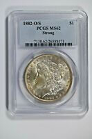 1882-O/S PCGS MINT STATE 62 STRONG MORGAN SILVER DOLLAR - TOP 100 VAM -  COIN