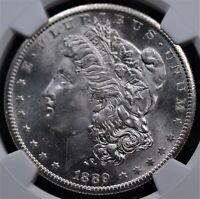 1889 S MORGAN DOLLAR NGC MINT STATE 62 FLASHY WHITE FROSTED PORTRAITS & REFLECTIVE FIELDS
