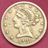 1901 S $5 LIBERTY GOLD XF  COIN
