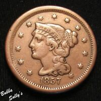 1857 BRAIDED HAIR LARGE CENT <> SMALL DATE <> FINE