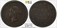 1881 DOUBLED DIE OBVERSE CANADA CANADIAN LARGE 1 CENT VICTORIA COIN PCGS XF 45