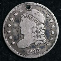 1836 CAPPED BUST SILVER HALF DIME HOLE SHIPS FREE E100 AM