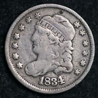 1834 CAPPED BUST SILVER HALF DIME FINE SHIPS FREE E101 ANM