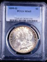 1899 O MORGAN SILVER DOLLAR PCGS MINT STATE 65 GOLDEN SILVER BEAUTIFUL LUSTER PQ GE153