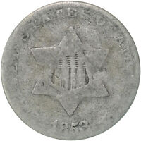 1853 THREE CENT SILVER COIN ABOUT GOOD AG