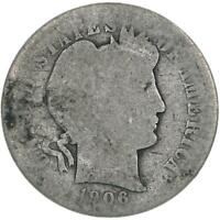 1906 BARBER DIME 90 SILVER ABOUT GOOD AG