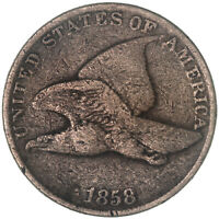 1858 FLYING EAGLE CENT LARGE LETTERS FINE PENNY FN